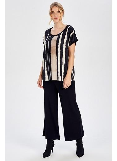 Peraluna Peraluna Çizgili Batik Baskılı Kısa Kol Kadın Triko  Bluz Renkli
